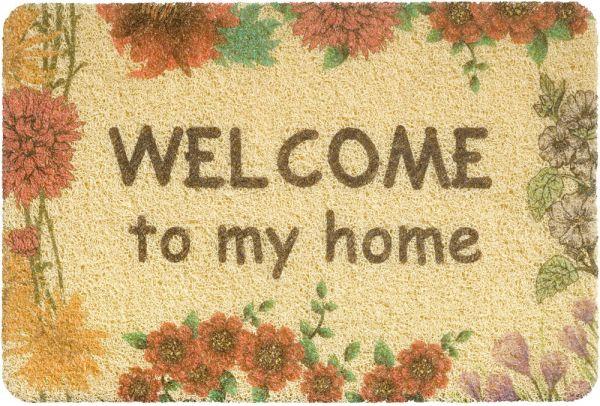 Fußmatte Türmatte Türvorleger Vinyl Outdoor beige Welcome to my home 40x60 cm