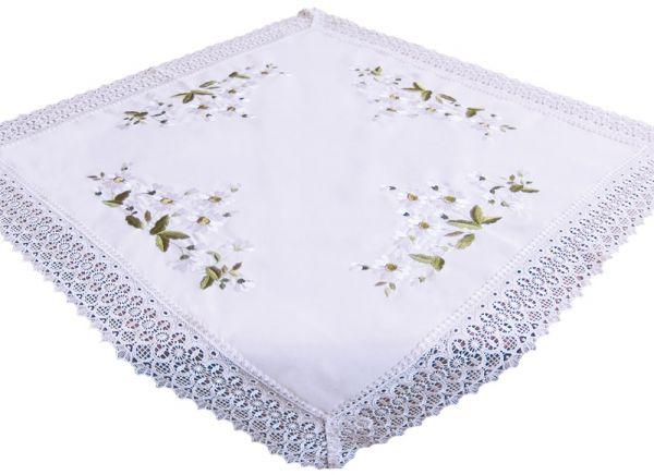 Tischdecke Mitteldecke Stick Voile Stoff mit Häkelkante Tischwäsche 85x85 cm