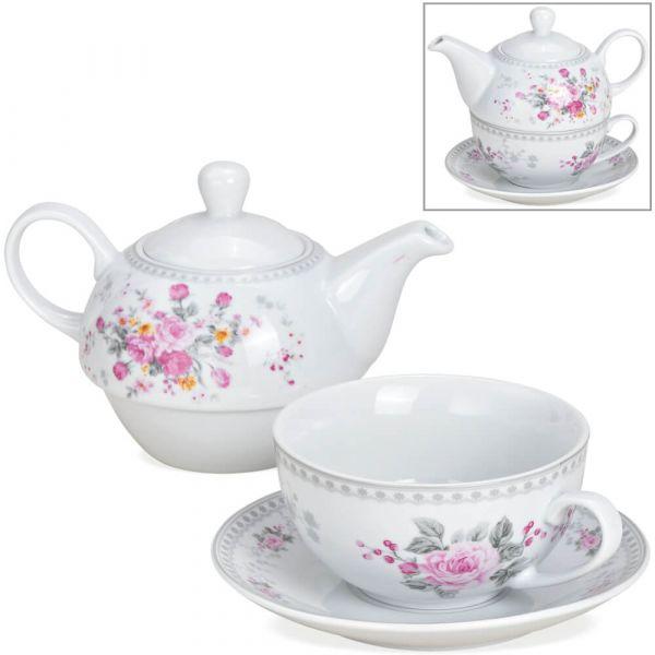 Tea For One Geschenk Set Porzellan Motiv Blumen Rosen - Teekanne, Tasse & Teller