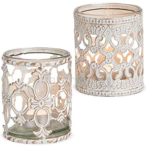 Kerzengläser Windlichter Teelichtgläser Barock Ornament vintage weiß 2er groß