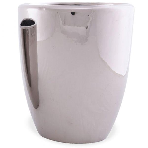 Pflanztopf Keramik Blumentopf Übertopf Silber Glanz rund glänzend 1 Stk 19x23 cm
