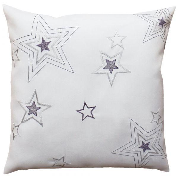 Kissenhülle Kissen Heimtextilien weiß Weihnachten Sterne Stick silber 40x40 cm