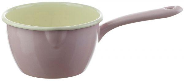 Email Stielkasserolle / Stieltopf mit Ausguss rosa Emaille Geschirr 1000 ml