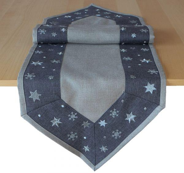 Tischläufer Mitteldecke Sterne Bordüre gestickt Weihnachten 40x140cm grau hellgrau