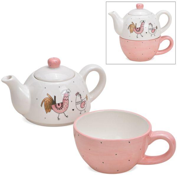 Tea For One Geschenk Set Keramik Hühner Motiv gemalt weiß & rosa Teekanne & Tasse