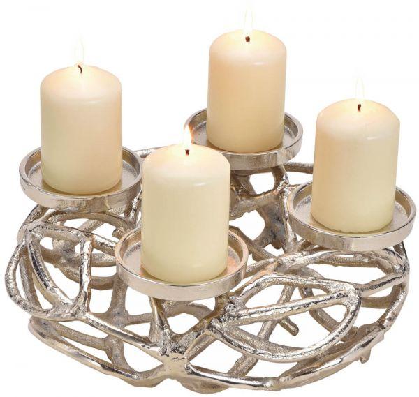Adventskranz Metall Gerippe & 4 Kerzenhalter Tisch-Deko silber 1 Stk Ø 30x11 cm
