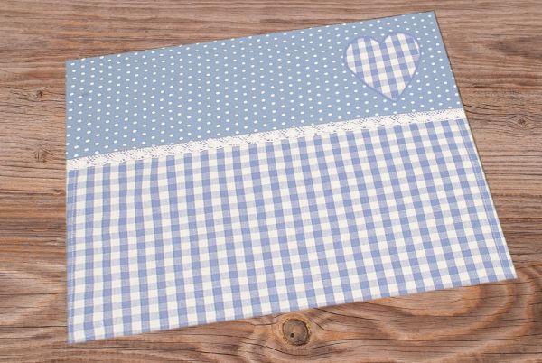 Tischset Platzset HANNE Spitze & Herz Applikation blau 33x48 cm Landhaus 1 Stk