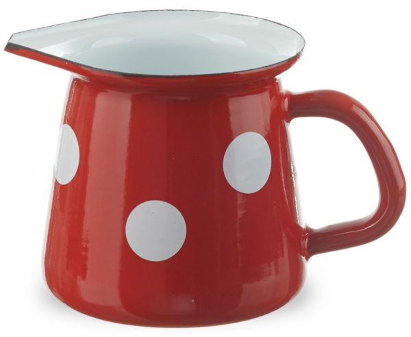 Email Kännchen Milch Nostalgie Geschirr Retro rot weiße Punkte Ø 9 cm 400 ml