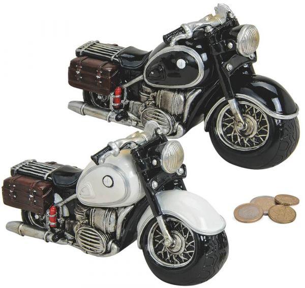 Spardose Motorrad Chopper Sparbüchse schwarz ODER weiß 1 Stk 20x11 cm