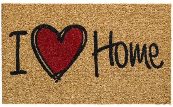Fußmatte Kokosmatte Indoor Aufdruck I love Home schwarz rot 1 Stk - 45x75 cm