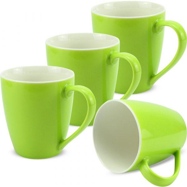 Tassen Kaffeebecher einfarbig kiwigrün Porzellan 4er Set 350 ml / 10 cm