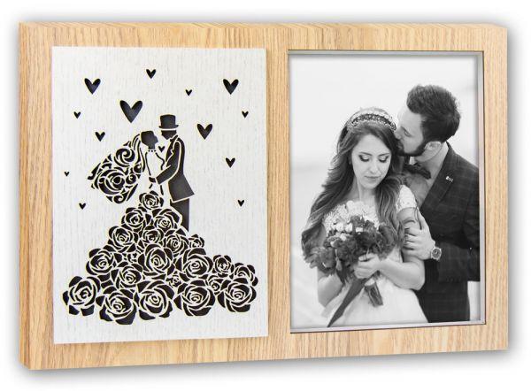 Bilderrahmen Leuchtrahmen Beleuchtet Holz natur ausgestanztes Brautpaar Hochzeit