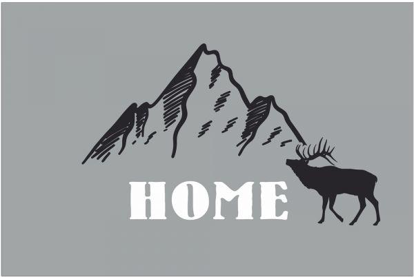 Fußmatte Fußabstreifer DECOR Home Hirsch & Berge Alpen grau waschbar 40x60 cm