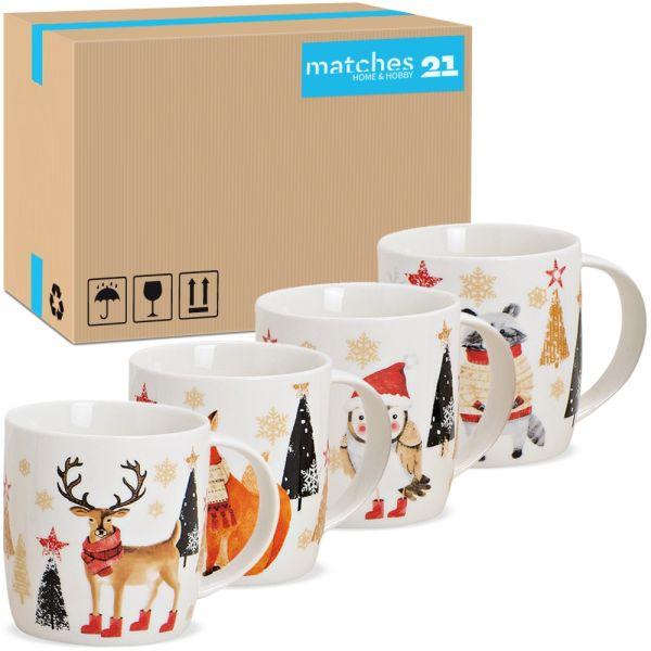Tassen Kaffeebecher Weihnachten Wald Tiere Tannen Porzellan 36 Stk sort 300 ml