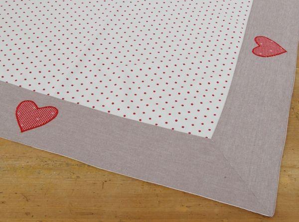 Mitteldecke Tischdecke Landhaus ROSI weiß Punkte rot Bordüre Herz 100x100 1 Stk