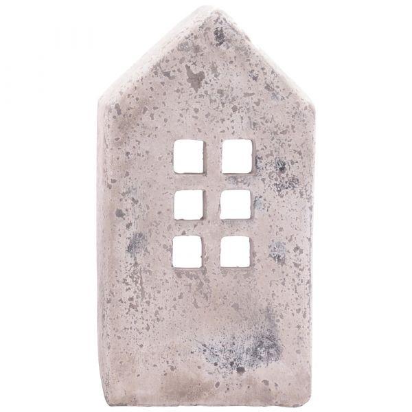 Dekoratives Windlicht Figur Leuchte Kerze Beleuchtung Haus Antik Optik Zement creme / weiß 10,5x7x15 cm