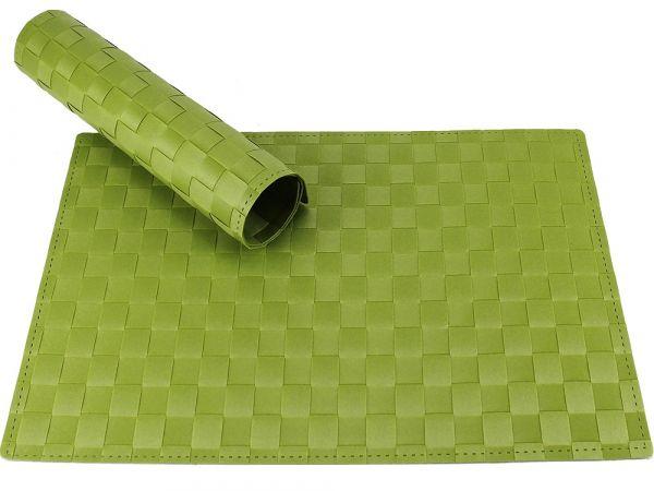 Tischset Platzset MODERN grün dunkelgrün geflochten Kunststoff 1 Stk. 45x30 cm