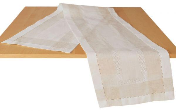 Tischläufer Mitteldecke Leinenoptik & Hohlsaum Tischwäsche wollweiß ecru 35x180 cm