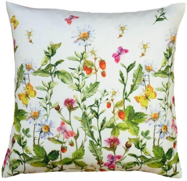 Kissenbezug Kissenhülle Heimtextilien Blumenwiese & Schmetterlinge bunt 40x40 cm