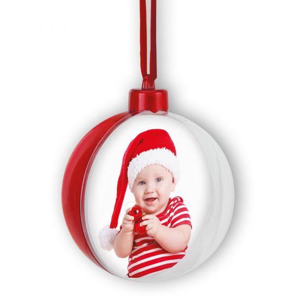 Fotokugel Christbaumkugel Weihnachten Weihnachtskugel rot Bilderrahmen Ø 10 cm