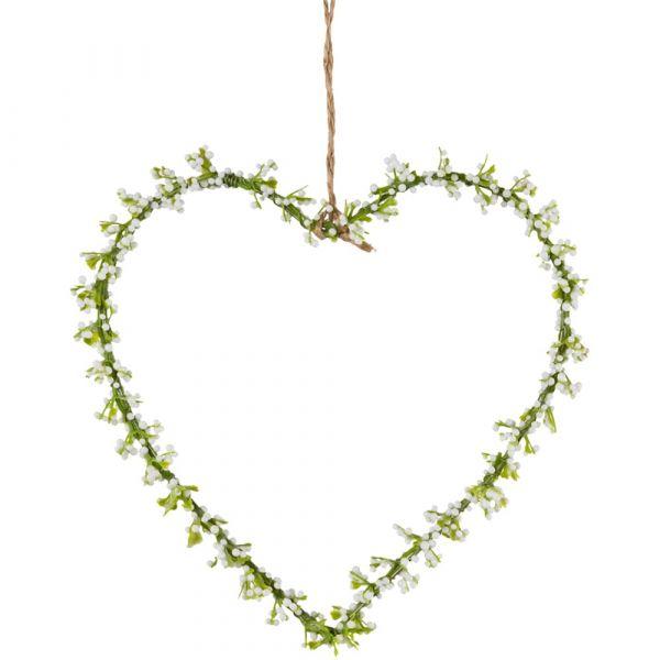 Blumenherzen Schleierkraut Herzen 1 Stk. Dekokränze weiß / grün Ø 16 cm
