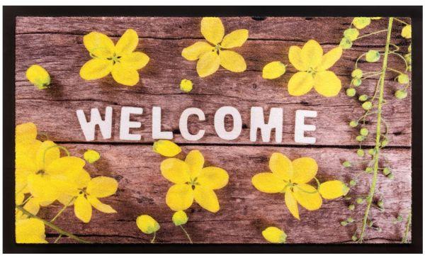 Fußmatte Fußabstreifer Decor & Rand Welcome Blumen Holz waschbar - 45x75 cm