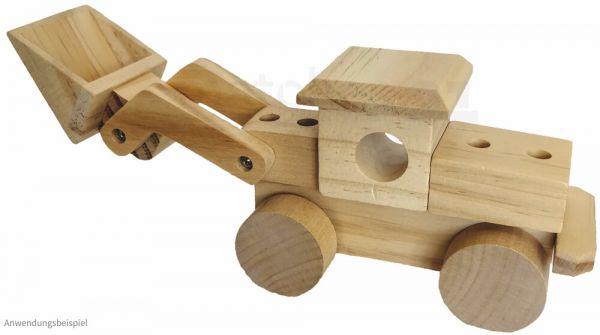 Bagger Radlader Holz vorgefertigter Bausatz Holzbausatz Bausatz Kinder ab 7 Jahre