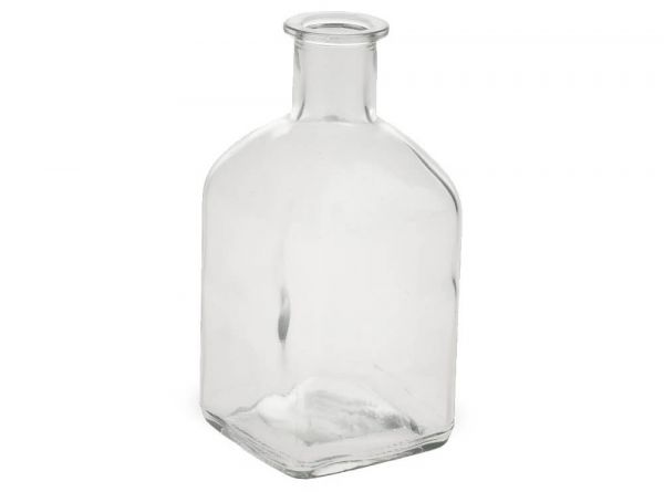 Vase Flaschenform Eckig Glas Flasche Dekoglas Glasvase Blumenvase 1 Stk 6,5x13 cm
