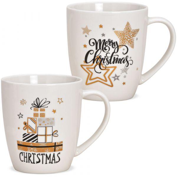 Tassen Kaffeebecher Merry Christmas weiß gold Porzellan 2er Set sort 300 ml 10 cm