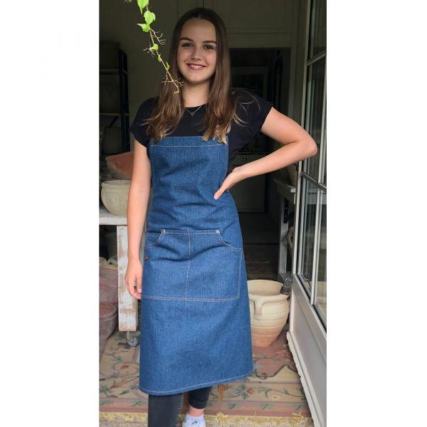 Latzschürze Schürze Kochschürze LUIS Jeans Denim Textil Tasche blau