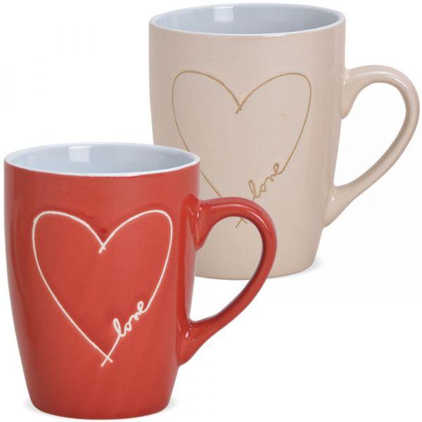 Tasse Kaffeetasse Steingut Herz & Love rot ODER beige 1 Stk **B-WARE** 8 cm 280ml