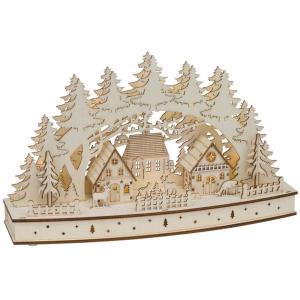Weihnachtsleuchter Holz LED Fensterleuchter Winterdorf & Rehe 44 cm