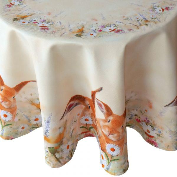 Tischdecke Tischtuch Osterhase & Wiese Ostern Frühling gelb Druck bunt Ø 130 cm