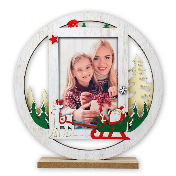 Bilderrahmen Fotorahmen Holz weiß Weihnachten RENTIER & SCHLITTEN 1 Stk 22x20 cm