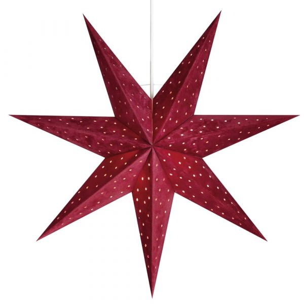 Weihnachtsstern Papier Leuchtstern hängend samtbezogen Ø 45 cm rot