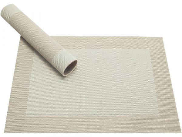 Tischset Platzset BORDA B-WARE creme weiß Kunststoff 1 Stk. gewebt / abwaschbar