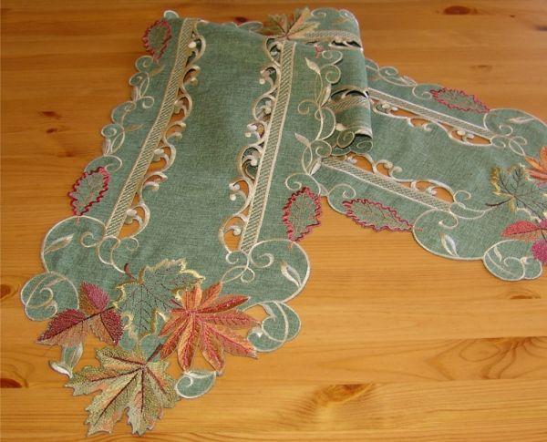 Tischläufer Mitteldecke Herbstlaub gestickt bunt herbstlich Tischband 30x160 cm
