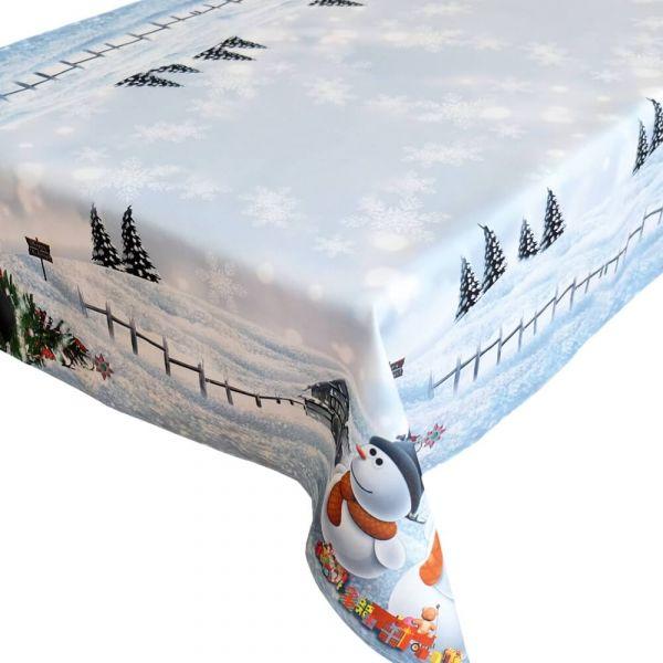 Tischdecke Tischtuch Weihnachten Schneemänner Foto Druck weiß bunt 130x170 cm