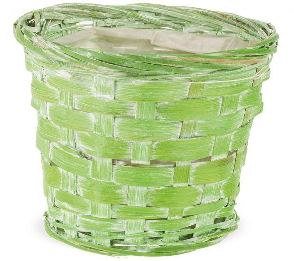 Blumenübertopf Bambus Pflanzgefäß innen foliert geflochten grün 1 Stk Ø 13x11 cm
