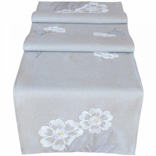 Tischläufer Tischwäsche Mitteldecke hellgrau Blüten & Blätter weiß gestickt 40x140 cm