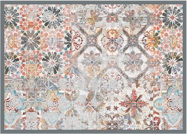 Fußmatte Fußabstreifer DECOR Retro Fliesen Shabby hellgrau waschbar 50x70 cm