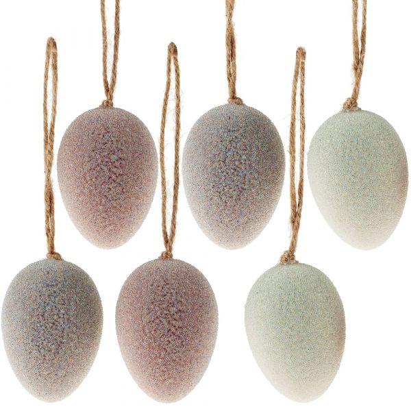 Ostereier mit Perlen verziert Kunststoff Eier Osterdeko 6er Set sort Ø 4,5x6 cm