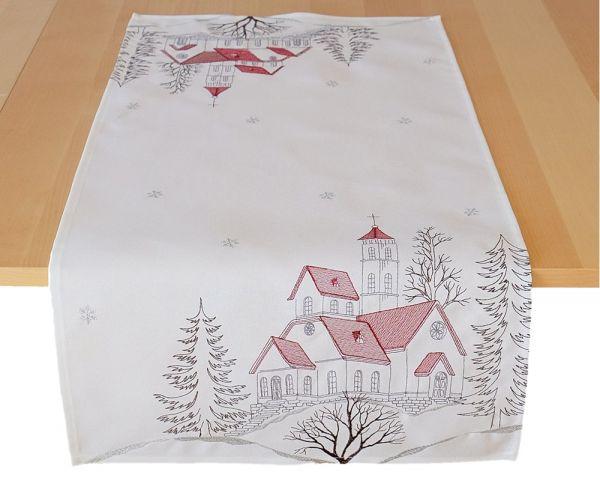Tischläufer Mitteldecke Motiv Kirche Weihnachten Stickerei 40x85 cm beige rot