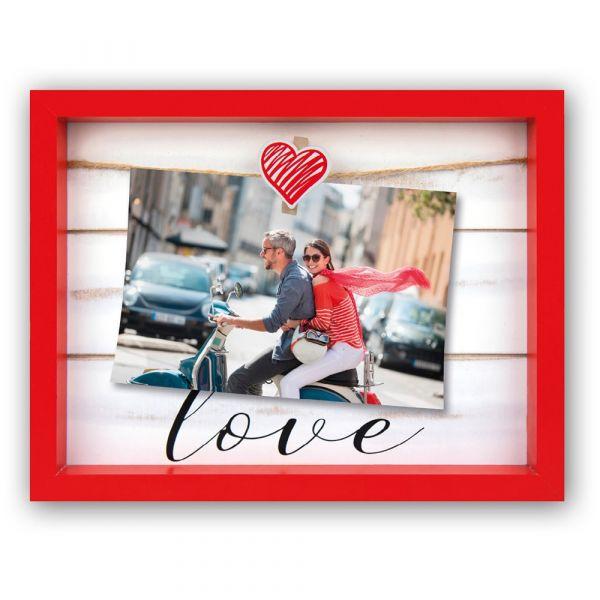 Bilderrahmen Fotorahmen Holz Leine Herz & Clip Aufschrift Love 10x15 cm - rot