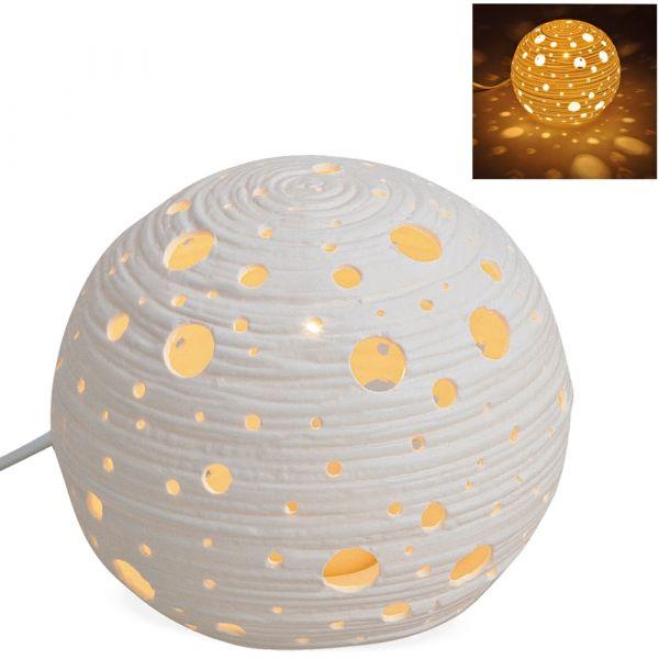 Tischlampe Nachttischlampe Kugel weiß Planeten Orbit 230 V Keramik 1 Stk Ø 16 cm