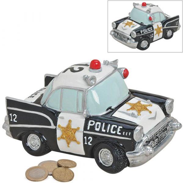 Spardose Polizei Auto US Police Car Sparbüchse Poly schwarz weiß 1 Stk 17x9 cm