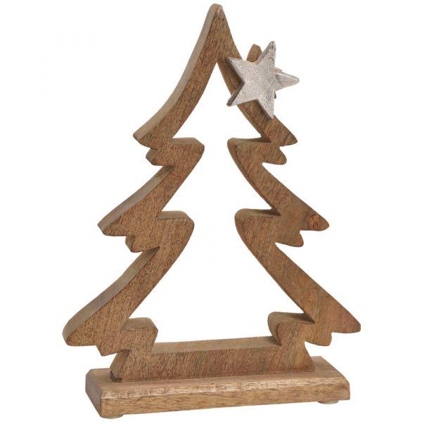 Dekofiguren Tannenbaum Weihnachten Deko Holz & Metall Holzfiguren – 2 Größen