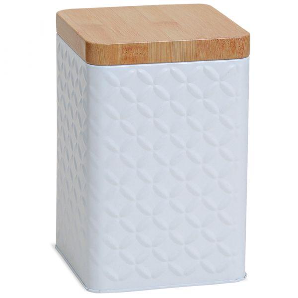 Vorratsdose eckig weiß Metall mit Deckel Holz-Optik braun Metalldose 10x10x16 cm