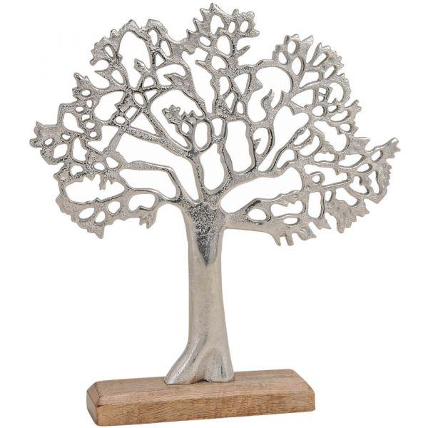 Bäume Metall auf Holzsockel Dekofiguren Skulpturen silber braun 1 Stk - 2 Größen