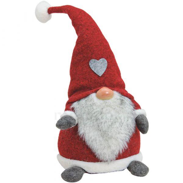 Nikolaus Wichtel Weihnachtswichtel Dekofigur aus Textil / Poly rot 23x20x50 cm